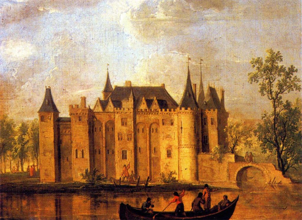 Kasteel van Gouda, gezien vanaf de IJssel. Christoffel Pierson, olieverf op doek, ca 170. Dit is meer dan 100 jaar na de afbraak geschilderd!